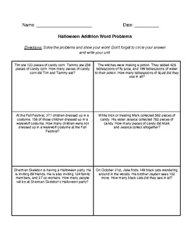 Halloween Word Problems