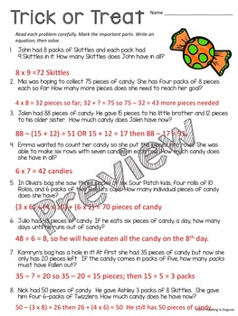 Halloween Word Problems: 3rd Grade