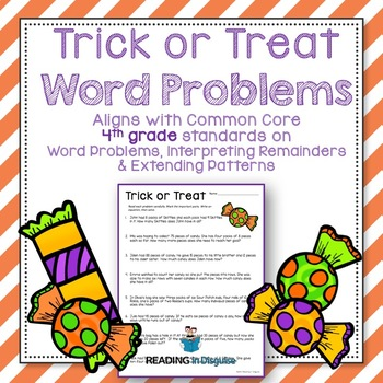 Halloween Word Problems: 4th Grade