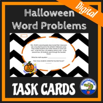 Halloween Math  - Halloween Word Problems on Task Cards
