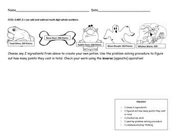 Halloween Word Problems Grade 3 3.NBT.2