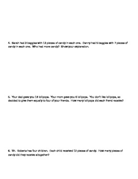 Halloween Word Problems - Mulitplication and Division