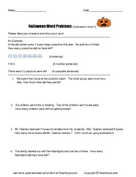 Halloween Word Problems Subtraction from 7.