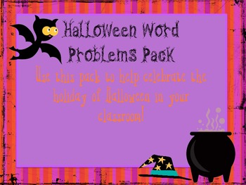 Halloween Word Problem Task Cards Pack