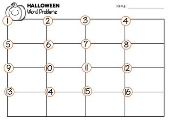 Halloween Word Problems Task Cards