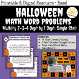 Halloween Word Problems Task Cards - Multiplication 2-3-4-Digit by 1-Digit