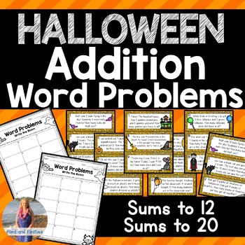 Halloween Math: Addition Word Problems Write the Room [[Differentiated]]