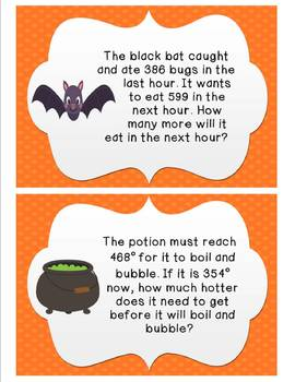 Halloween Word Problems: addition and subtraction without regrouping