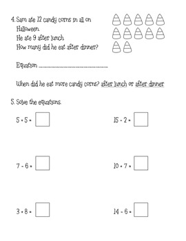 Halloween Word Problems and Common Core Task
