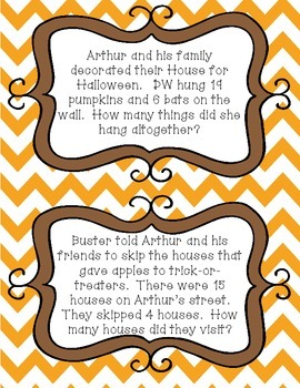 Halloween Word Problems for Arthur's Halloween (Numbers within 50)