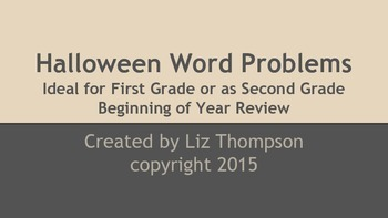 Halloween Word Problems for first or second grade