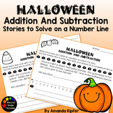 Halloween Word Problems to Add/Subtract on a 0-20 Number Line