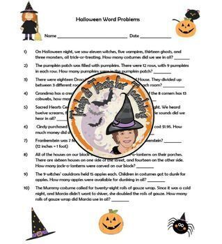 Halloween Word Problems with Answer KEY Add Subtract Multiply Divide Holiday