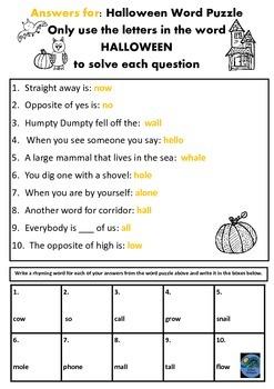Halloween Word Puzzle & Ryhming Word Task Years 2-4