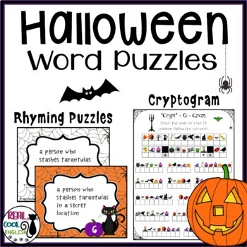 Halloween Word Puzzles - Cryptogram and Rhyme Puzzles