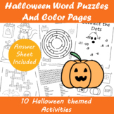 Halloween Word Puzzles and Color Pages