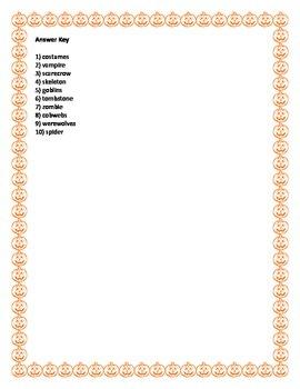 Halloween Word Scramble- 10 Words