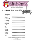 Halloween Word Scramble: Pomodoro Penguin Worksheet Wednesday 7