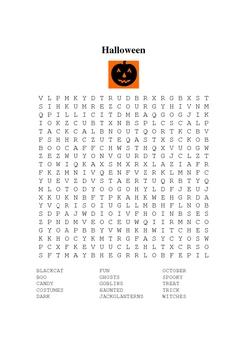 Halloween Word Seach