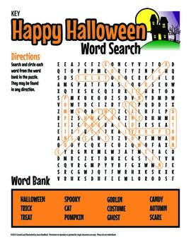 Halloween Word Search Printable Activity