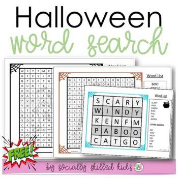 FREE! Halloween Word Search