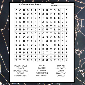 Halloween Word Activity: Word Search