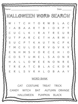 Halloween Word Search