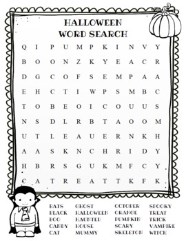 Halloween Word Search (color and BW versions)