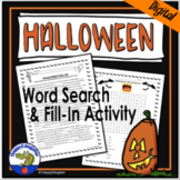 Halloween Activities - Word Search and Fill in the Blank Story