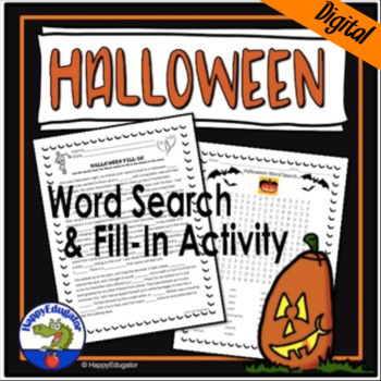 Halloween Activities: Word Search and Fill in the Blank Story