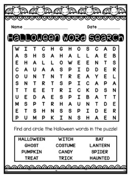 Halloween Word Search FREEBIE!