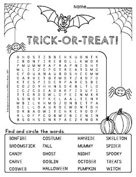 Halloween Word Searches - FREEBIE!