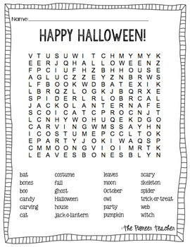 Halloween Word Search {For Kids}
