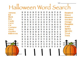 Halloween Word Search Freebie by Amanda McDonald | TpT