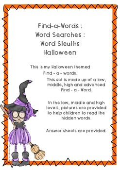 Halloween Word Search Set