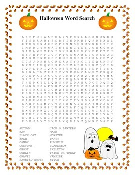 Halloween Word Search- Harder 20 Words by Twin Business Teachers