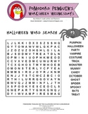 Halloween Word Search: Pomodoro Penguin Worksheet Wednesday No. 6