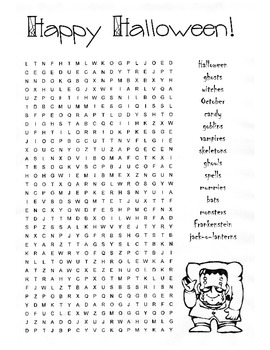 Halloween Word Search Puzzle / 5th Grade / 6th Grade by Kelly Connors