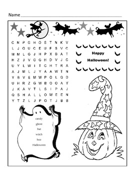 Halloween Word Search Puzzle / 1st Grade