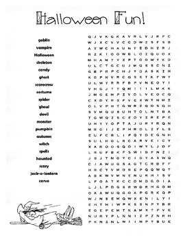 Halloween Word Search Puzzle / Halloween Spelling Words / 4th Grade