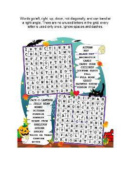 Halloween Word Search Puzzle, Illustrated