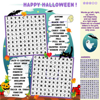 Halloween Word Search Puzzle, Illustrated, Commercial Use Allowed