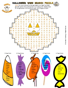 Halloween Word Search Puzzle for fun in all classes