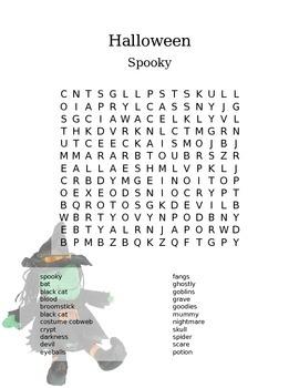 Halloween Word Search - Spooky Middle School Fun!