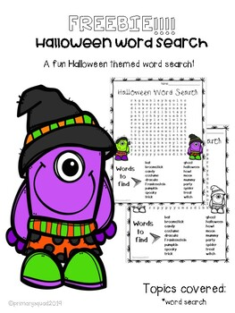 Halloween Word Search- Super Cute!