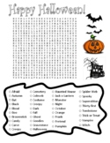 Halloween Word Search and Coloring Page - DIFFICULT (good for substitute plan?)