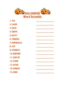 Halloween Word Search and Scramble