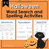 Differentiated Halloween Word Search and Spelling Activities