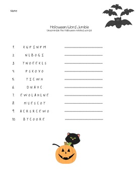 Halloween Word Search and Word Jumble