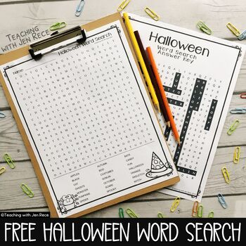 Halloween Word Search with Answer Key
